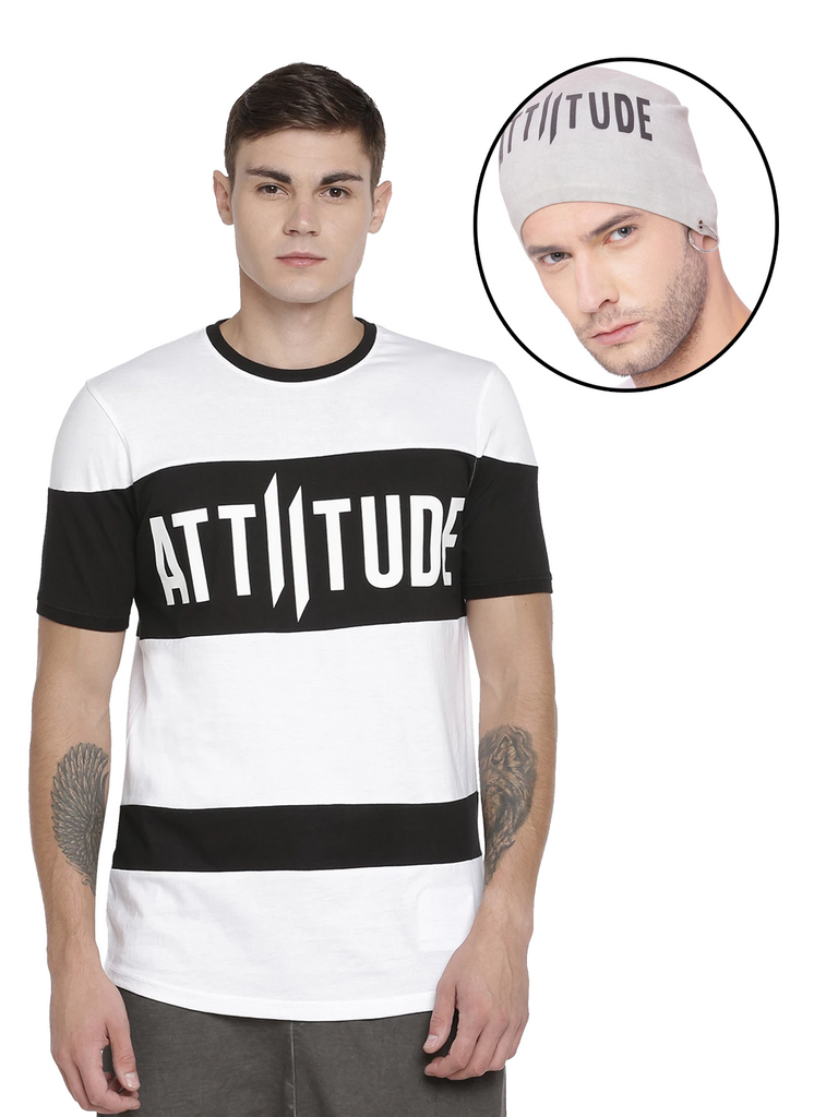 BLACK AND WHITE HD LOGO PRINT ON CHEST WITH LIGHT GREY BEANIE