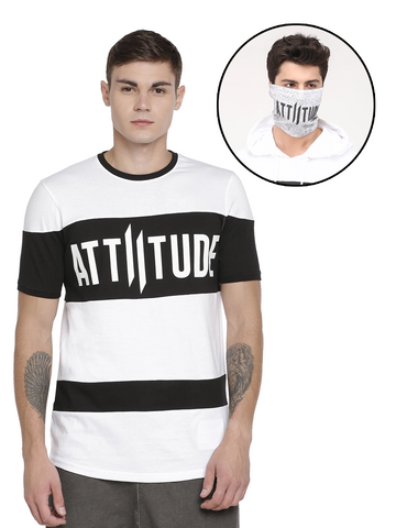BLACK AND WHITE DIAGONAL LOGO PRINT WITH SPECIAL WASH MASK