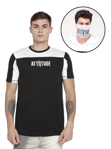 WHITE HOODED T-SHIRT WITH TAPED AND SPLATTER EFFECT MASK