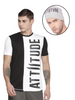 BLACK AND WHITE T-SHIRT WITH VERTICAL LOGO PRINT WITH LIGHT GREY BEANIE