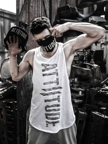 Chill Combo 2 (white Vest, grey logo cap, Black Mask)