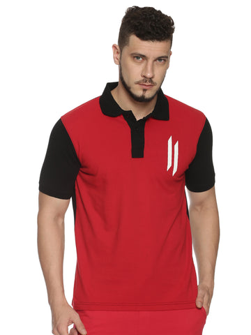 Men Round Neck Short Sleeve Red T-shirt