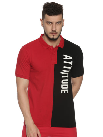 Men V Neck Short Sleeve Red T-shirt