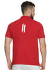 Men Polo Collar Short Sleeve Red T-shirt