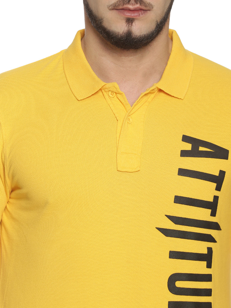 Men Polo Collar Short Sleeve Yellow T-shirt
