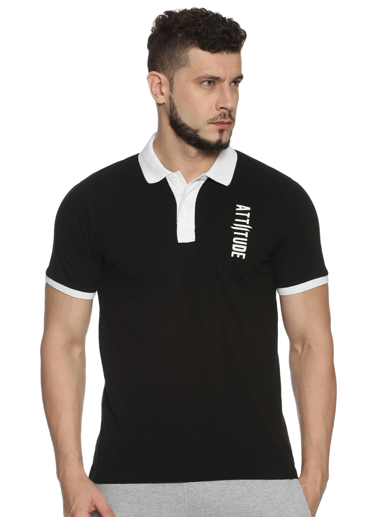 Men Polo Collar Short Sleeve Black T-shirt