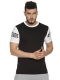 Men Round Neck Short Sleeve Black T-shirt