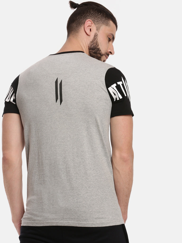 Men Round Neck Short Sleeve Grey Melange T-shirt