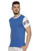 Men Round Neck Short Sleeve Royal Blue T-shirt