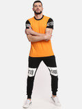 Men Round Neck Short Sleeve Orange T-shirt