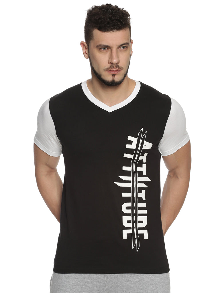 Men V Neck Short Sleeve Black T-shirt