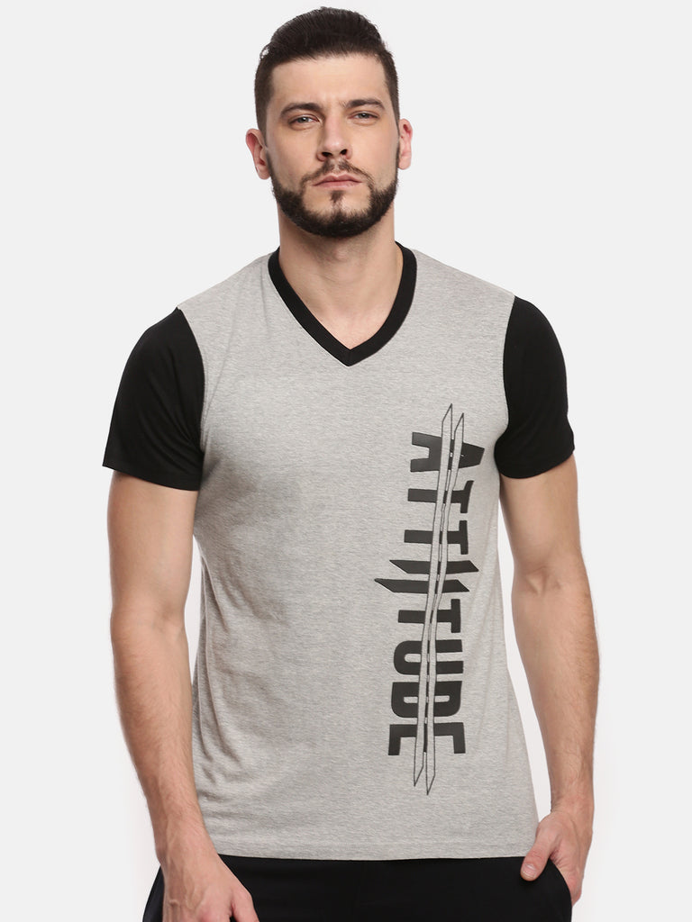 Men V Neck Short Sleeve Grey Melange T-shirt