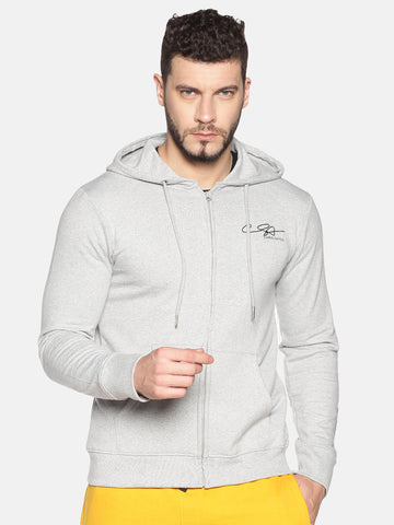Men Full Sleeve Grey Hooded Sweatshirt