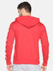 Men Full Sleeve Red Hooded Sweatshirt