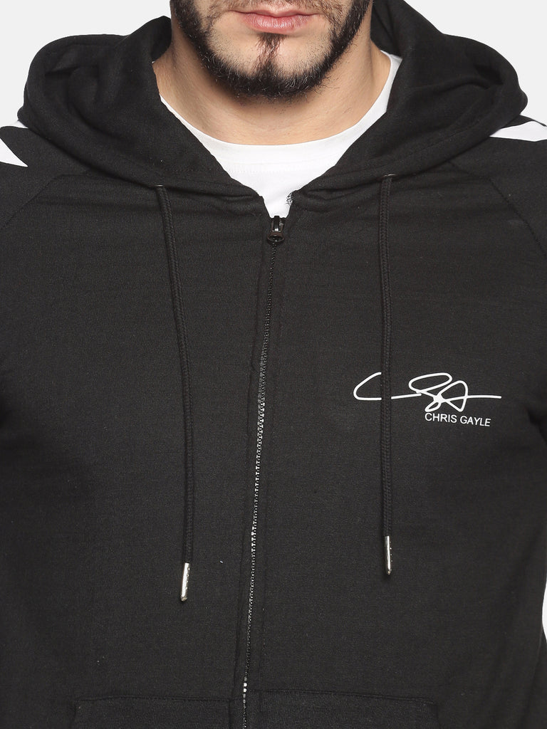 Men Raglan Sleeve Black Hooded Sweatshirts