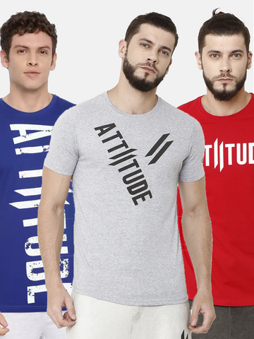 Attiitude Vertical Logo Printed T-Shirt  Black