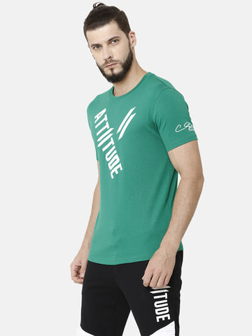 Attiitude Diagonal Printed T-Shirt  Green