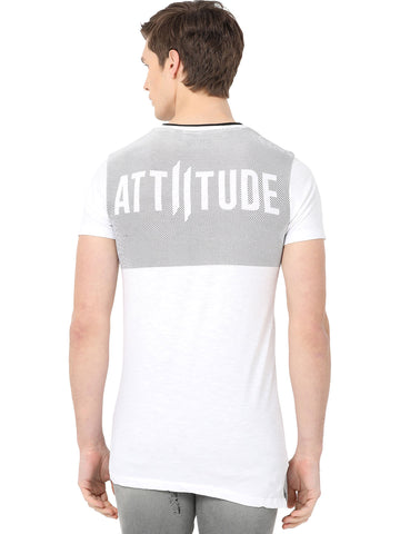 ATTIITUDE White t shirt with Screen print and Black Rib