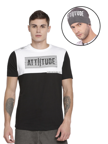 BRAND LOGO T-SHIRT WITH CRACK PIGMENT PRINT AND BLACK BEANIE