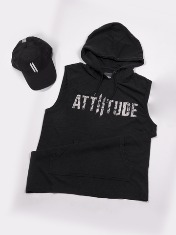 BLACK WITH GREY HOODED T-SHIRT AND BLACK CAP