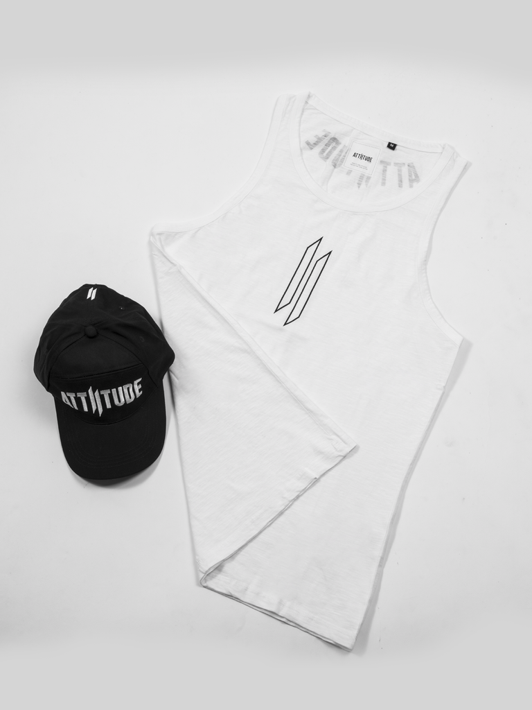 ATTIITUDE HOLLOW LOGO PRINTED WHITE VEST AND CAP