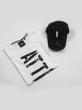 ATTIITUDE WHITE T-SHIRT WITH GRUNGE PIGMENT PRINT AND CAP