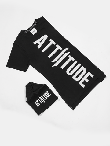 ATTIITUDE GREY TSHIRT WITH TEXT BOX & ASYMMETRICAL HEM AND BEANIE