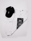ATTIITUDE WHITE TANKTOP WITH RAW EDGE APPLIQUE AND CAP