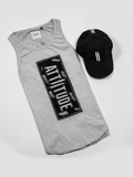 ATTIITUDE LIGHT GREY TANKTOP WITH RAW EDGE APPLIQUE AND CAP