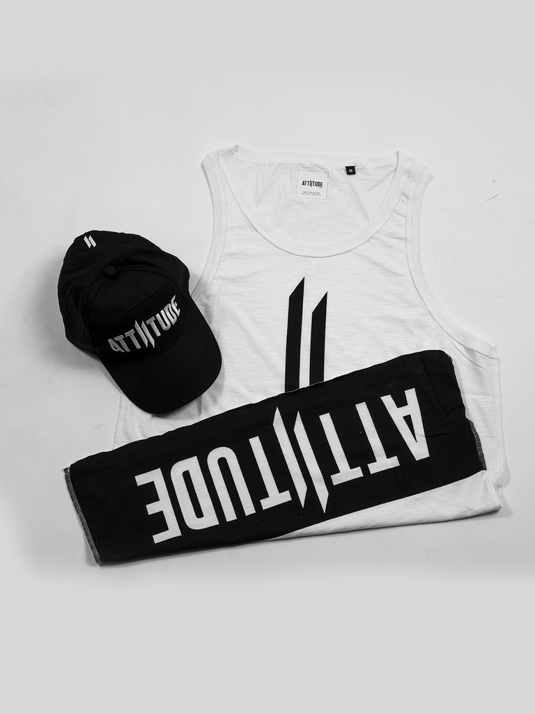ATTIITUDE DISCHARGE PRINTED WHITE VEST AND CAP
