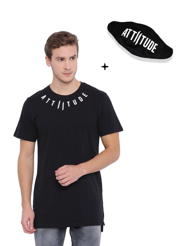 Attiitude Regular Hem Black T Shirt, White Tie & Die Wash T Shirt