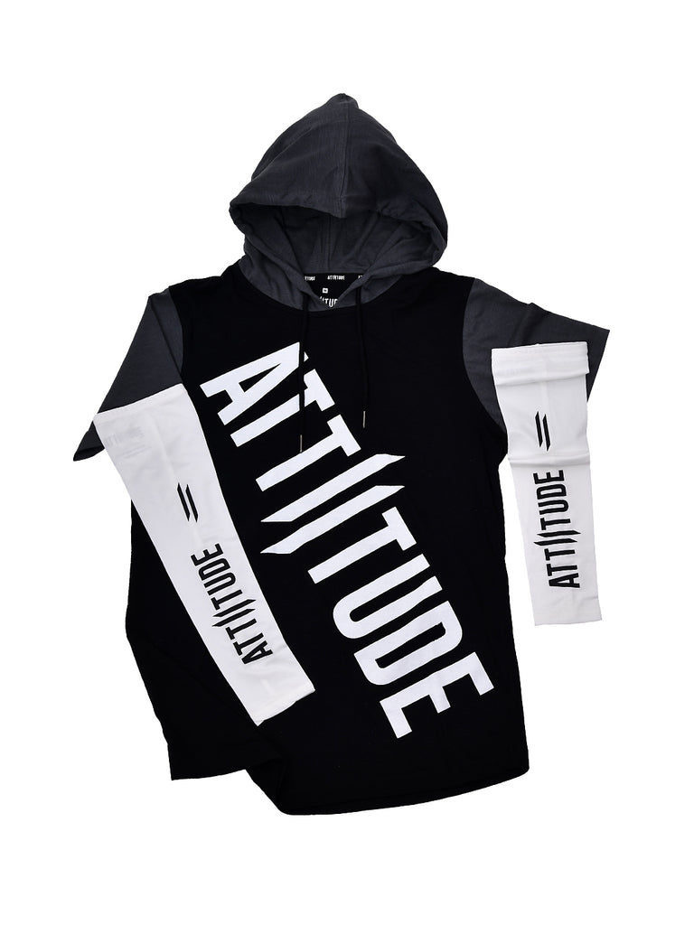 BLACK WITH GREY HOODED T-SHIRT AND WHITE ARM SLEEVES