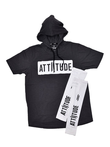 ATTIITUDE BLACK DISTRESSED DENIM JOGGERS + ATTIITUDE BLACK VEST WITH HD LOGO