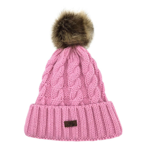 HY Fashion Melrose Cable Knit Bobble Hat
