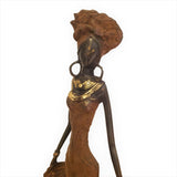 West African Vintage Hand Cast Bronze Figurine of a Female Dancer in Red Dress from Burkina Faso L15cm x W15cm X H35cm