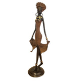 African Bronze Sculpture of a Female Dancer in Red | House of Avana