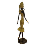 West African Vintage Hand Cast Bronze Figurine of a Female Dancer in Yellow Dress from Burkina Faso L15cm x W15cm X H35cm