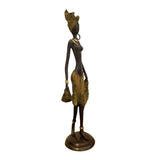 West African Vintage Hand Cast Bronze Topless Female Figurine in a Yellow Sarong from Burkina Faso L15cm x W15cm X H35cm