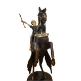 West African Vintage Hand Cast Bronze Black Horse with a Black Rider from Burkina Faso
