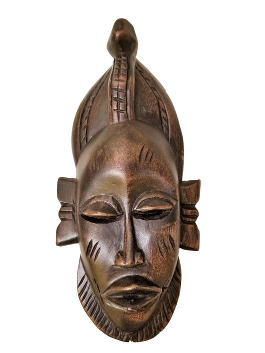 West African Vintage Tribal Ivory Coast Small Senufo Passport Mask of a Bearded Man L06cm x W04cm x H12cm - Mask Wall Decor