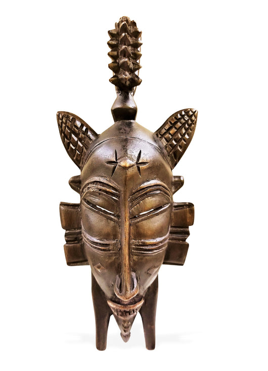 West African Vintage Tribal Ivory Coast Small Senufo Passport Mask with spiky head-dress L06cm x W04cm x H12cm - Mask Wall Decor
