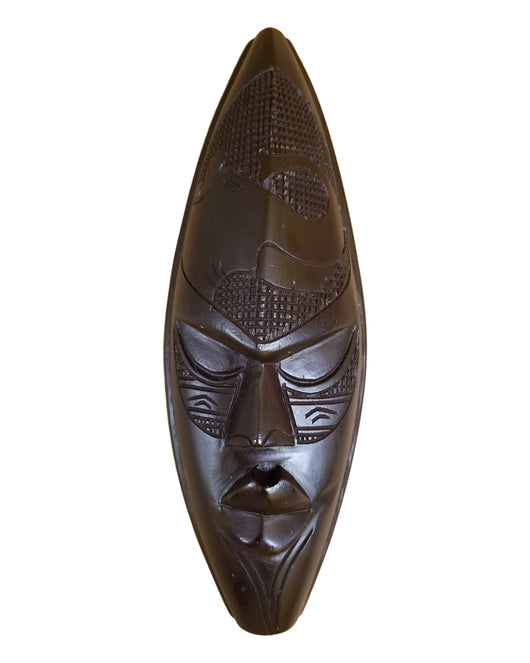 Medium Dark Ghanian Mask With Elephant On Forehead - Décor Wall Decor