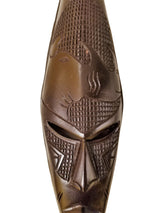 Medium Dark Ghanian Mask With Etched Rhino On Forehead - Décor Wall Decor