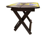 Ghanaian Square Folding Portable Side Table with Beaded Surface Decor L40cmH50cm- African Furniture for Living Room