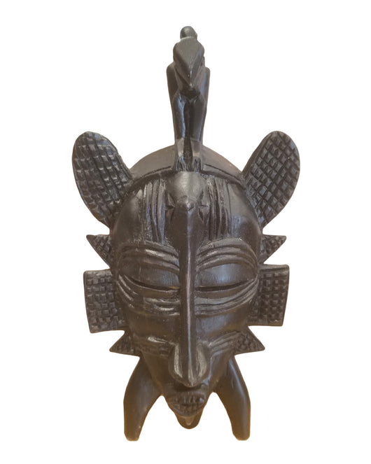 West African Vintage Tribal Ivory Coast Small Dark Senufo Passport Mask with Kalao L21cm x W11cm x H03cm - Mask Wall Decor