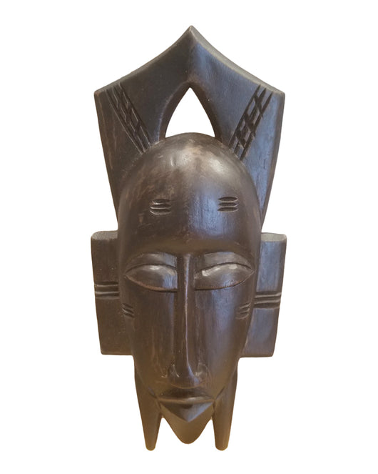 West African Vintage Tribal Ivory Coast Dark Small Senufo Passport Mask L22cm x W10cm x H03cm - Mask Wall Decor