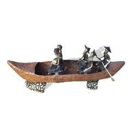 West African Hand cast Lost Wax Bronze Sculpture of a Boat and Riders from Burkina Faso