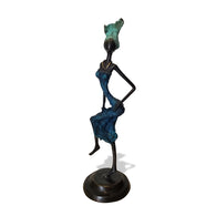 Vintage West African Lost Wax Hand Cast Bronze Figurine of an African Woman Dancer in Blue Dress and Green Headdress from Burkina Faso