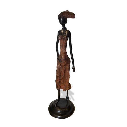 West African Vintage Hand Cast Bronze Figurine of a Pregnant African Woman in a Rust Colored Dress from Burkina Faso
