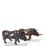 West African Rhinoceros Lost Wax Hand Cast Bronze Statue